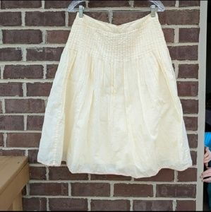 J.crew yellow pleated a- line skirt